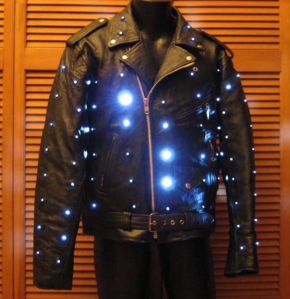 Leather Biker Jacket With White LEDs